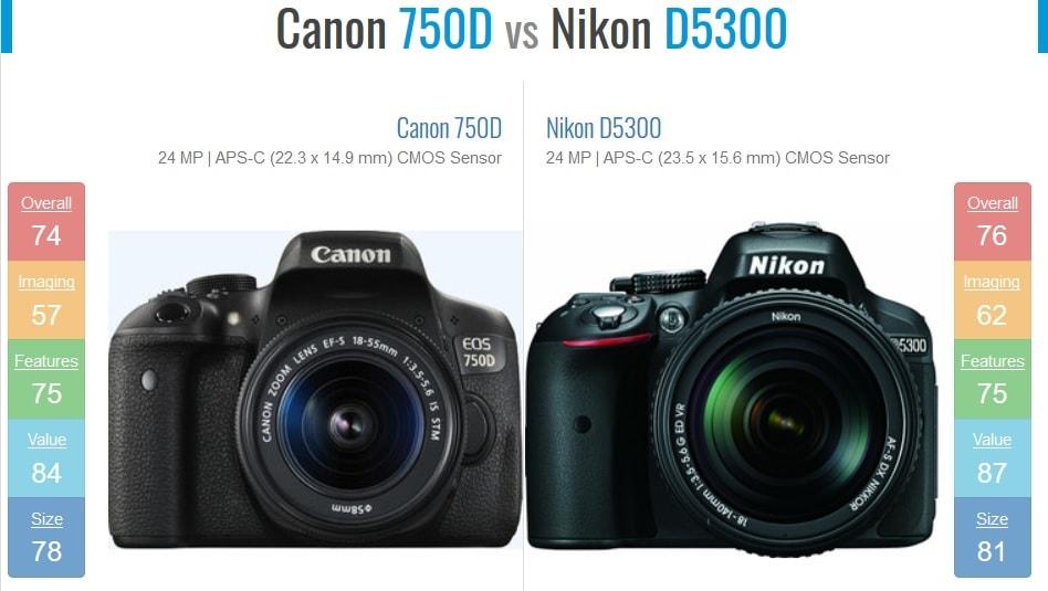 مقایسه دوربین نیکون D5300 و کانن 750D
